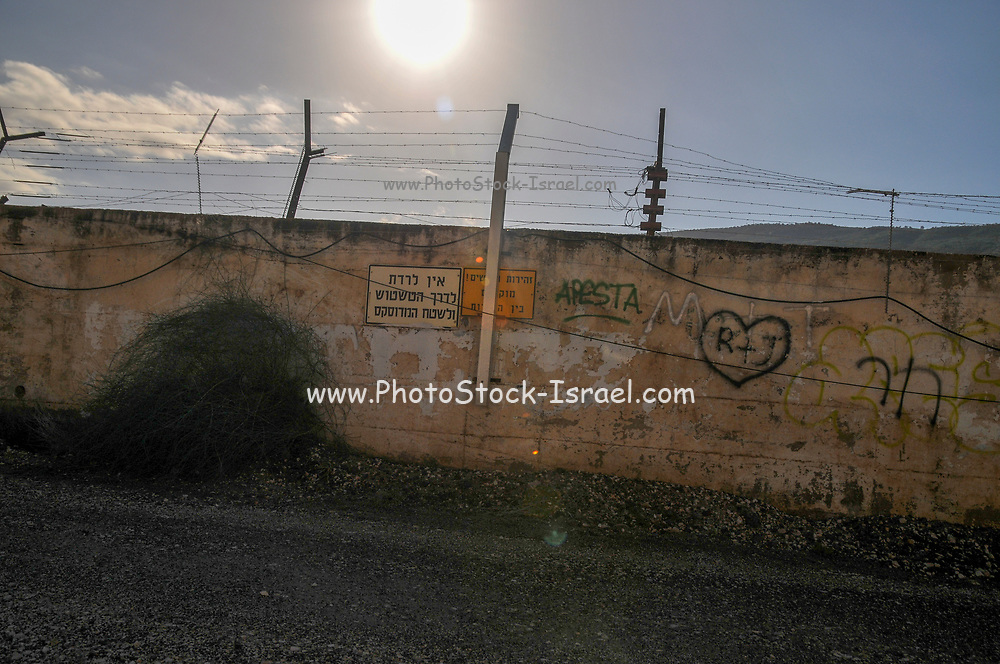 The Israel Syria border on the Golan Heights