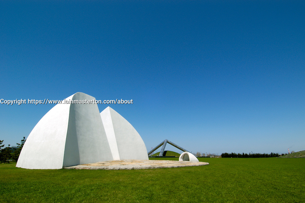 The white Moer Music Shell performance space in Moerenuma park in Sapporo japan 2005