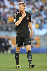 03.07.2010, CAPE TOWN, SOUTH AFRICA, im Bild .Per Mertesacker of Germany during the Quarter Final, Match 59 of the 2010 FIFA World Cup, Argentina vs Germany held at the Cape Town Stadium.Foto ©  nph /  Kokenge