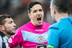 St Mirren's keeper Jamie Langfield reacts to the linesman after Jack Baird handled the ball and is sent off by Ref Greg Aitken. <br /> Falkirk 3 v 0 St Mirren. Scottish Championship game played 21/10/2015 at The Falkirk Stadium.