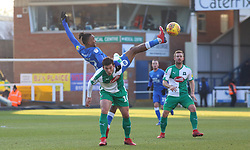 Ivan Toney of Peterborough United challenges for the ball with Niall Canavan of Plymouth Argyle - Mandatory by-line: Joe Dent/JMP - 02/02/2019 - FOOTBALL - ABAX Stadium - Peterborough, England - Peterborough United v Plymouth Argyle - Sky Bet League One