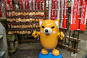 Inarin, mascot of the Toyokawa Inari Betsuin temple in Asakusa, Tokyo, Japan. The Buddhist temple is part of the Soto Zen sect and enshrines the deity Toyokawa Dakinishinten but also known for the thousands of Inari Kitsune or fox goddess statues.
