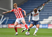 Preston North End's Ryan Ledson is fouled by  Stoke City's Sam Clucas<br /> <br /> Photographer Dave Howarth/CameraSport<br /> <br /> The EFL Sky Bet Championship - Preston North End v Stoke City - Saturday 26th September 2020 - Deepdale - Preston <br /> <br /> World Copyright © 2020 CameraSport. All rights reserved. 43 Linden Ave. Countesthorpe. Leicester. England. LE8 5PG - Tel: +44 (0) 116 277 4147 - admin@camerasport.com - www.camerasport.com