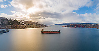Aerial view of the bulk carrier 'Peter Oldendorff' anchored in the port of Narvik in Northern Norway.