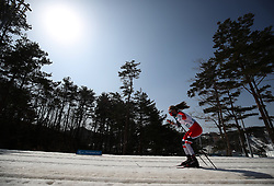 A competitor makes her way round the course in the Women's 1.5km Sprint Classic, Standing Cross Country Skiing at the Alpensia Biathlon Centre during day four of the PyeongChang 2018 Winter Paralympics in South Korea