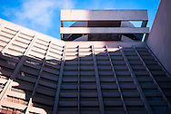 Light, shadow, perspective and structure balanced against a blue sky in San Francisco, California