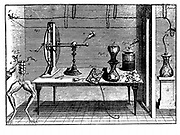 Plate from Luigi Galvani 'De Viribus Electricitatis', Bologna, 1791, showing electrostatic machine, Leyden jar, and various experiments conducted by Galvani to investigate behaviour of muscles stimulated by electricity. Engraving