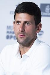 May 6, 2019 - Madrid, Spain - Novak Djokovic of Serbia talks to the media during day three of the Mutua Madrid Open at La Caja Magica on May 06, 2019 in Madrid, Spain. (Credit Image: © Oscar Gonzalez/NurPhoto via ZUMA Press)