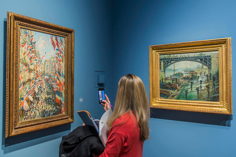 The rue Montorgueil, 1878, and The Coal Heavers - The Credit Suisse Exhibition: Monet & Architecture a new exhibition in the Sainsbury Wing at The National Gallery.