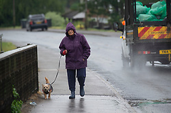 © Licensed to London News Pictures 18/06/2021. Aylesford, UK. A dog walker gets wet in the rain near Maidstone. Torrential rain is causing roads to flood in Kent as thunderstorms are set to hit the UK again today. Photo credit:Grant Falvey/LNP