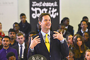 © Licensed to London News Pictures. 27/02/2014. London, UK Deputy Prime Minister and Leader of the Liberal Democrats Nick Clegg delivers a speech today, 27th February 2014, on how all young people will be helped to succeed after leaving school. He was speaking to over 500 students at Southfields Academy in South West London. Photo credit : Stephen Simpson/LNP