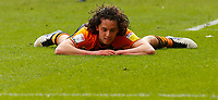 Hull City's George Honeyman lies on the pitch after a challenge<br /> <br /> Photographer Lee Parker/CameraSport<br /> <br /> The EFL Sky Bet League One - Hull City v Oxford United - Saturday 13th March 2021 - KCOM Stadium - Kingston upon Hull<br /> <br /> World Copyright © 2021 CameraSport. All rights reserved. 43 Linden Ave. Countesthorpe. Leicester. England. LE8 5PG - Tel: +44 (0) 116 277 4147 - admin@camerasport.com - www.camerasport.com
