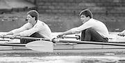 London. United Kingdom.  1987 Pre Fixture, Varsity Boat Race. National Squad vs Cambridge University BC on the Championship Course Mortlake to Putney. River Thames.  Saturday 21.03.1987<br /> <br /> [Mandatory Credit: Peter SPURRIER/Intersport images]<br /> <br /> Right. Matt BRITTIN, Stephen PEEL [PRESIDENT] 19870321 Pre Boat Race fixture, National Squard vs Cambridge UBC, London UK