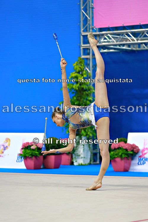 Veronica Bertolini during qualifying at clubs in Pesaro World Cup 11 April, 2015.<br /> Veronica was born in Sondrio October 19, 1995, she is an individual gymnast of the Italian team.