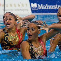 Competitors perform in the Team Synchronized Swimming competition during the Swimming European Championships.