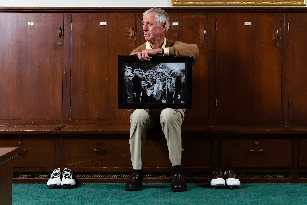 Portraits of Jim Langley, former golf pro at Cypress Point golf club in Pebble Beach, California where he reflects on his friendship with caddie Eddie Lowery.