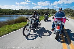 Nate Jacobs of Harlot Cycles in Illinois out for a ride on his custom Biker Build-Off Shovelhead with Warren Lane on his stock 1964 Panhead (right) and Zach Ness (behind) on his Ironhead Sportster Street Tracker during Daytona Bike Week. FL, USA. March 14, 2014.  Photography ©2014 Michael Lichter.