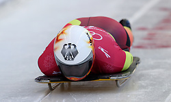 Germany's Anna Fernstaedt during the Women's Skeleton practice on day three of the PyeongChang 2018 Winter Olympic Games in South Korea. PRESS ASSOCIATION Photo. Picture date: Monday February 12, 2018. See PA story OLYMPICS Skeleton. Photo credit should read: David Davies/PA Wire. RESTRICTIONS: Editorial use only. No commercial use.