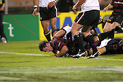 28 September 2002, NPC First division-Ranfurly Shield match, Jade Stadium, Christchurch, New Zealand.<br />Canterbury vs North Harbour.<br />Mark Hammett dives over the line to score. Canterbury defended the shield 65-10.<br />Pic: Sandra Teddy/Photosport