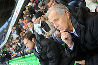 FOOTBALL - FRENCH CHAMPIONSHIP 2010/2011 - L1 - STADE RENNAIS v MONTPELLIER HSC - 23/10/2010 - PHOTO PASCAL ALLEE / DPPI - RENE GIRARD THE MONTPELLIER COACH ATTENDS THE MEETING IN THE PUBLIC PLATFORM TO PURGE A SUSPENTION