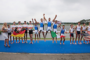 Rotterdam. Netherlands.  ITA JM4+, celebrate gold on the awards dock at the  2016 JWRC, U23 and Non Olympic Regatta. {WRCH2016}  at the Willem-Alexander Baan.   Sunday  28/08/2016 <br /> <br /> [Mandatory Credit; Peter SPURRIER/Intersport Images]