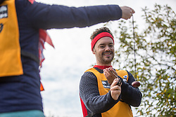 © Licensed to London News Pictures. 11/10/2015. Southwick, UK. Barney Harwood of Blue Peter at The 2015 Conker World Championships celebrates it's 50th year with competitors from around the world competing to become this years conker king. Photo credit: Andrew McCaren/LNP
