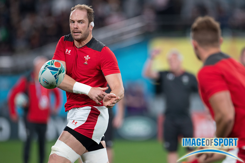 Alun Wyn Jones (captain) of Wales gets warm before the Rugby World Cup bronze final match between New Zealand and Wales Friday, Nov, 1, 2019, in Tokyo. New Zealand defeated Wales 40-17.  (Flor Tan Jun/Espa-Images-Image of Sport)