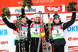 10.12.2011, Biathlonzentrum, Hochfilzen, AUT, E.ON IBU Weltcup, 2. Biathlon, Hochfilzen, Verfolgung Herren, im Bild Sieger nach der Verfolgung dritter platz Boe Tarjei (NOR) erster platz Svendsen Emil Hegle (NOR) und dritter platz Weger Benjamin (SUI) // during E.ON IBU World Cup 2th Biathlon, Hochfilzen, Austria on 2011/12/10. EXPA Pictures © 2011. EXPA Pictures © 2011, PhotoCredit: EXPA/ nph/ Straubmeier..***** ATTENTION - OUT OF GER, CRO *****