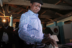 LUSAKA, Aug. 11, 2016 (Xinhua) -- Zambian incumbent President, the presidential candidate of the ruling Patriotic Front (PF) Edgar Lungu casts his vote at a polling station in Lusaka, Zambia, Aug. 11, 2016. Polling started Thursday morning for Zambia' s general elections and referendum. About 6.7 million registered voters are expected to cast their ballots at nearly 7,700 polling stations across the country, which opened from 6 a.m to 6 p.m. (Xinhua/Penglijun) (yk) (Credit Image: © Peng Lijun/Xinhua via ZUMA Wire)