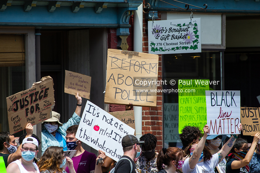 """Several hundred people gathered at 4th and Chestnut Streets in Mifflinburg for the """"If not us, then who"""" rally to protest systemic racism, police violence and oppression."""
