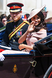 © Licensed to London News Pictures. 09/06/2018. London, UK. The Duke and Duchess of Sussex Prince Harry and Meghan Markle at the Trooping the Colour ceremony in London to mark the 92nd birthday of Queen Elizabeth II, Britain's longest reigning monarch. Photo credit: Rob Pinney/LNP