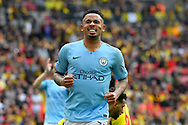Gabriel Jesus (33) of Manchester City reacts after missing a goal scoring chance  during the The FA Cup Final match between Manchester City and Watford at Wembley Stadium, London, England on 18 May 2019.