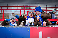 Young Portsmouth fans during the EFL Sky Bet League 1 match between Accrington Stanley and Portsmouth at the Fraser Eagle Stadium, Accrington, England on 27 October 2018.