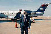 HUNTSVILLE, AL – APRIL 2, 2014: Executive Director Rick Tucker stands on the tarmac at Huntsville International Airport. In an attempt to reverse the trend of declining service by airlines in small airports, Huntsville International Airport attempted to implement a rebate plan that would offer incentives to some carriers for enhanced service to the midsize city. The Federal Aviation Administration cautioned that the plan could potentially violate a federal law barring interference with airline fares, routes or service levels. When the industry's largest trade group, Airlines for America, threatened to, the airport's plan was disrupted. As major airlines continue to trim service offerings in smaller, less profitable cities, airports like Huntsville International struggle to attract and maintain carriers. CREDIT: Bob Miller for The Wall Street Journal<br /> SMALLAIRPORT