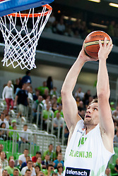 Gasper Vidmar of Slovenia during last friendly match before Eurobasket 2013 between National teams of Slovenia and France on August 31, 2013 in SRC Stozice, Ljubljana, Slovenia. (Photo by Urban Urbanc / Sportida.com)