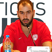Olimpiakos's Spanoulis Vasileios seen during their Two Nations Cup Press Conference press conference at Anadolu Efes sports hall in Istanbul Turkey on Friday 30 September 2011. Photo by TURKPIX