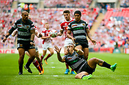 Hull FC right wing Mahe Fonua (2) catches the high ball  and lays it off during the Ladbrokes Challenge Cup Final 2017 match between Hull RFC and Wigan Warriors at Wembley Stadium, London, England on 26 August 2017. Photo by Simon Davies.
