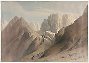 Ascent of the Lower Range of Sinai with a caravan of camels Color lithograph by David Roberts (1796-1864). An engraving reprint by Louis Haghe was published in a the book 'The Holy Land, Syria, Idumea, Arabia, Egypt and Nubia. in 1855 by D. Appleton & Co., 346 & 348 Broadway in New York.