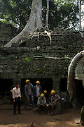 Archeology workers in the Ankor Wat Temple, in Siem Reap, Cambodia. PHOTO TIAGO MIRANDA