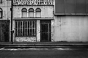 Abandoned and boarded up building, Brownsville Texas, USA
