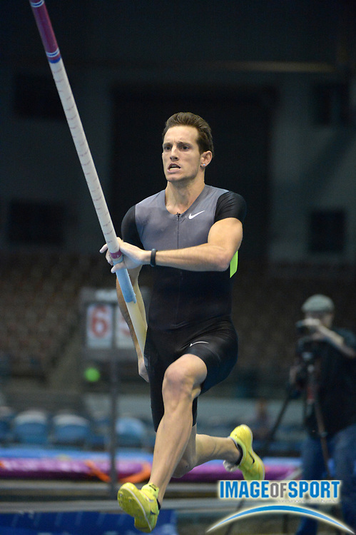 Jan 18, 2013; Reno, NV, USA; Renaud Lavillenie (FRA) wins the mens competition at 19-2 3/4 (5.86m) in the 2013 UCS Spirit national pole vault summit at the Reno Livestock Events Center.