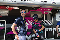 German sprinting legend Erik Zabel gives a last minute pep talk to Barbara Guarischi (ITA) of CANYON//SRAM Racing before the start of the La Course, a 89 km road race in Paris on July 24, 2016 in France.