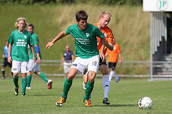 Daniel G. Andersen (Avarta) og Jonas Kallehauge (FC Helsingør) under kampen i 2. Division Øst mellem Boldklubben Avarta og FC Helsingør den 19. august 2012 i Espelunden. (Foto: Claus Birch).