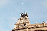 Statue on top of a building, Calle de Alcala, Madrid, Spain