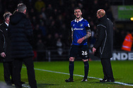 Peter Clarke of Oldham Athletic (26) shouts towards the linesman that awarded Doncaster's penalty, after Clarke leaves the field after been shown a red card during the The FA Cup fourth round match between Doncaster Rovers and Oldham Athletic at the Keepmoat Stadium, Doncaster, England on 26 January 2019.