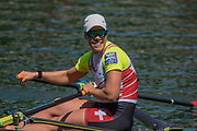 Lucerne, SWITZERLAND, 15th July 2018, Sunday Women's Single Scull Final A, SUI W1X,  Jeannine GMELIN, celebrates, winning the Gold Medal, at the ,FISA World Cup III Lake Rotsee, © Peter SPURRIER,