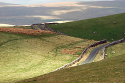 Remote road in Yorkshire Dales National Park UK
