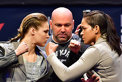 Nov 12, 2016 - New York, New York, U.S. - RONDA ROUSEY and AMANDA NUNES face off during the weigh-in at UFC 205 in Madison Square Garden. (Credit Image: © Jason Silva/ZUMA Wire/ZUMAPRESS.com)