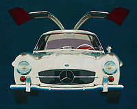 Mercedes 300SL Gullwings 1964<br /> The Mercedes 300 SL Gullwings is the most famous Mercedes in the world. The models that Mercedes has ever marketed do not match the Gullwings popularity.<br /> In this painting you see the Mercedes Gullwings from the front with both doors open. -<br /> <br /> BUY THIS PRINT AT<br /> <br /> FINE ART AMERICA<br /> ENGLISH<br /> https://janke.pixels.com/featured/mercedes-300sl-gullwings-front-jan-keteleer.html<br /> <br /> WADM / OH MY PRINTS<br /> DUTCH / FRENCH / GERMAN<br /> https://www.werkaandemuur.nl/nl/shopwerk/Mercedes-300SL-Gullwings-1964-deuren-openen/571988/132