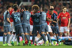 11th May 2017 - UEFA Europa League - Semi Final (2nd Leg) - Manchester United v Celta Vigo - Facundo Roncaglia of Celta Vigo (L) grabs at Eric Bailly of Man Utd - Photo: Simon Stacpoole / Offside.